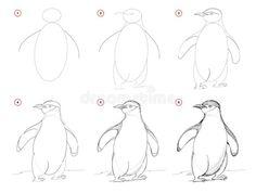 Penguin Drawing Easy, Penguin Sketch, Penguin Illustration, Cool Art Drawings, Art Drawings Sketches, Easy Drawings, Pencil Drawings, Animal Sketches Easy, Animal Drawings