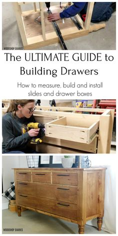 Building drawers can be intimidating. But this super detailed step by step guide breaks down how to measure for, build, and install drawer boxes the EASY way. Installing drawers into furniture or cabinets shouldn\\ Cheap Furniture Makeover, Diy Furniture Renovation, Diy Furniture Plans Wood Projects, Building Furniture, Woodworking Projects Diy, Woodworking Plans, Furniture Storage, Furniture Ideas, Furniture Design