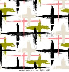 Vector seamless bold plaid pattern with thin brushstrokes, thin stripes and crosses hand painted in bright colors. Dynamic striped print texture for fall winter retro fashion and sportswear - stock vector