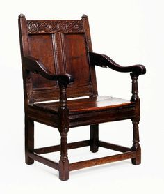 This simple and strong armchair was a common type in the 16th century. Chairs of this type would be used in large farms or manor houses. There would only be one or two of these chairs in the house; other household members would sit on benches, stools or simpler chairs. This chair is made entirely of oak, with decoration in the form of relief carving and turning.