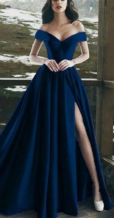Split Prom Dresses, Navy Blue Prom Dresses, Pretty Prom Dresses, Ball Dresses, Elegant Dresses, Sexy Dresses, Summer Dresses, Navy Blue Gown, Wedding Dresses