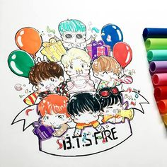 Aww this is such a cute drawing of BTS
