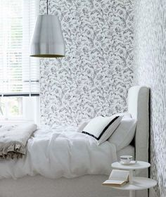 Modern bedroom pictures and photos for your next decorating project. Find inspiration from of beautiful living room images Monochrome Bedroom, Modern Bedroom Design, White Bedroom, Modern Bedrooms, Of Wallpaper, Designer Wallpaper, Wallpaper Designs, Discount Bedroom Furniture, Bedroom Pictures