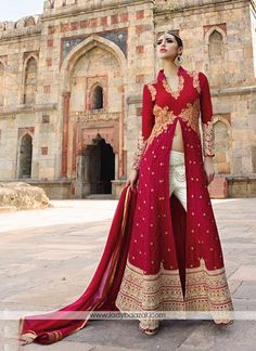 Maroon Embroidered Georgette Front Slit Straight Suit #Embroidered #StraightSuit…