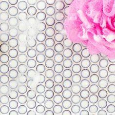 Eden Winter White Penny Round Polished Rimmed Ceramic Tile Ceramic Mosaic Tile Penny Round Tiles Penny Tile