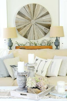 farmhouse style living room via dandelionpatina.com