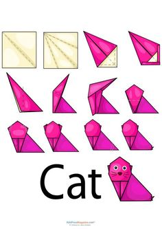 Easy Origami – Kitty Cat  #origami #stress #reduction #attention #builder