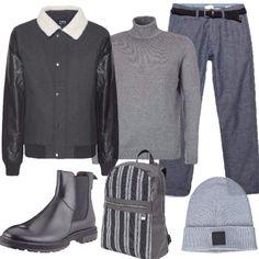 Il grigio e il bomber  outfit uomo Casual per ufficio  a38387ac387