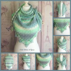 This pretty crochet triangle shawl has been crocheted using premium acrylic colour changing yarn in shades of blue, green, grey and cream. It can be worn in a variety of ways as seen on the photos. The shawl has a gorgeous shell pattern and is fi. Christmas Craft Projects, Crochet Triangle, Crochet Shawls And Wraps, Free Canvas, Acrylic Colors, Beautiful Gifts, Yarn Colors, Handmade Crafts, Shades Of Blue