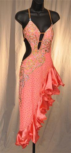 fcdb8f306a9e Sexy Coral Ruffle Latin Dress Latin Ballroom Dresses, Ballroom Dance, Latin  Dresses, Edm