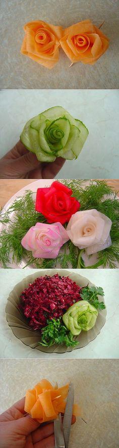 Roses from vegetables! Food Sculpture, Wedding Appetizers, Fruit Arrangements, Food Decoration, Edible Art, Healthy Cooking, Food Art, Buffet, Good Food