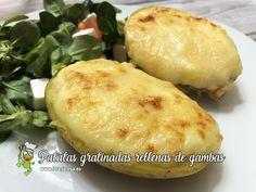 Patatas gratinadas rellenas de gambas — La rana Rosa