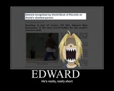 Edward Elric makes world record book! lol this is really funny even though he isn't actually the shortest person in the world.
