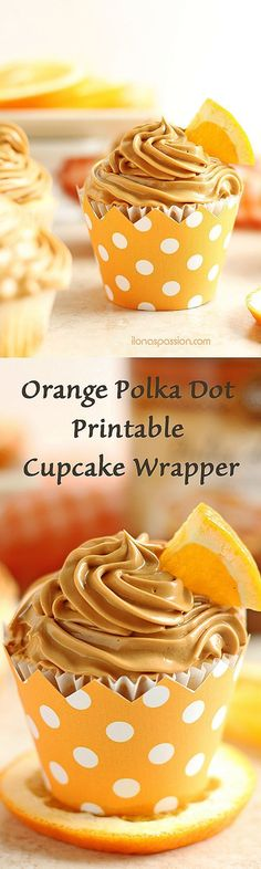 Orange Cupcake Wrapper Printable - Orange Polka Dot Cupcake Wrappers - Orange Cupcake Party Decorations - Cupcake Liners - Party Supplies by Ilona's Design on Etsy I /ilonaspassion/