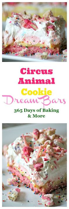 THESE CIRCUS ANIMAL COOKIE DREAM BARS WITH A COOKIE CRUST, VANILLA PUDDING, SWEETENED CREAM CHEESE AND WHIPPED TOPPING WILL BRING OUT THE KID IN ANYONE. EYES WILL LIGHT UP WHEN YOU PLACE THIS FUN AND COLORFUL NO BAKE DESSERT ON THE TABLE!