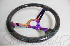 Image of preorder Black w/ Rainbow Flake Steering Wheel (neochrome center)