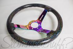 Image of preorder Black w/ Rainbow Flake Steering Wheel (neochrome center)