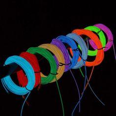 A, 1M 10 colors 3V Flexible Neon EL Wire Light Dance Party Decor Light Battery-p