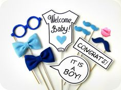 BABY SHOWER Photobooth Props - Baby BOY- Family, friends, baby party - Set of 10 props ♥ Would you like to make your baby shower photobooth Baby Shower Photo Booth, Fotos Baby Shower, Baby Shower Photos, Baby Shower Gender Reveal, Photos Booth, Boy Photos, Photo Booth Props, Fiesta Baby Shower, Baby Shower Games
