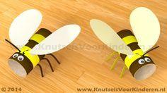 Bij van wc rol - Knutsels Voor Kinderen - Leuke Ideeën om te Knutselen met… Summer Crafts For Kids, Summer Activities For Kids, Craft Projects For Kids, Diy For Kids, Circle Crafts, Garden Animals, Bee Party, Baby Boy Quilts, Toilet Paper Roll Crafts