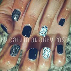 Blue aztek nails