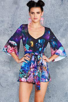 BlackMilk - Friends Not Anemones Kimono Playsuit Boss Shirts, Black Playsuit, Black Milk Clothing, Fashion Beauty, Womens Fashion, My Black, Playsuits, Kimono, My Style