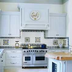 Do you think I could sneak this Mediterranean inspired backsplash in without my husband noticing?real sneaky like? Ceramic Tile Backsplash, Glazed Ceramic Tile, Glazed Tiles, Updated Kitchen, New Kitchen, Kitchen Decor, Kitchen Cabinetry, Kitchen Backsplash, Backsplash Ideas