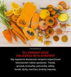 Aby regularnie dostarczać swojemu organizmowi beta-karoten należy spożywać: Fasolę, groszek, brukselkę, pietruszkę, sałatę, buraki, dynię, marchew, brokuły, kapustę.
