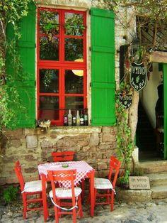 Vino the wine house, Cunda island, Ayvalik, Turkey. Places Around The World, Travel Around The World, Around The Worlds, The Doors, Windows And Doors, Red Windows, Portsmouth, Beautiful World, Beautiful Places