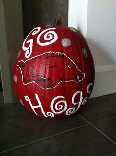 My handpainted Razorback pumpkin