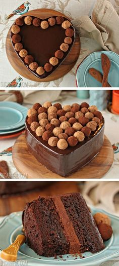 Truffle-Topped Heart Cake: rich layers of chocolate cake, with chocolate glaze and truffles on top. For serious chocolate lovers only! | From SugarHero.com