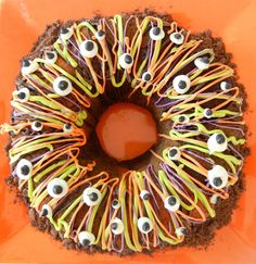 Tri-color Halloween Bundt Cake Colored with Spinach, Sweet Potato and Beets WITH eyes