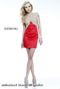 Dazzle and excite everyone in 21222 by Sherri Hill. This slim fit cocktail dress features a sheer bodice with a high neckline and an open back. Intricate beading adorn the bodice and back for that tasteful elegance. Nude Prom Dresses, Sherri Hill Homecoming Dresses, Prom Dresses For Sale, Bridesmaid Dress, Short Dresses, Dresses 2016, Mini Dresses, Formal Dresses, Party Dresses