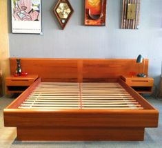 king size headboard with unique table lamp   Modern King Platform Bed Frame Built In Side Table And ...