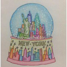 Instagram media colorindoepintando - Boooa noite, lindos. Terminei o meu Globo de neve de NY ❤️ e amei o resultado final! Me digam o que acharam.. ❤️#segredosdenovayork