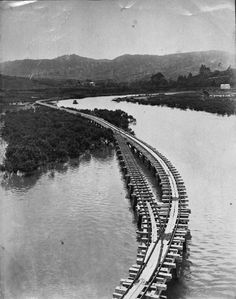 Nihotupu Dam tramline at Parau. 1920. Passing loop in the trestles at Big Muddy Creek. The line passes through Peter Williams' property just beyond the mangroves (left). Centre background is Marhsall Laing's old home. The building on the right is the loco shed at the Deep Hole. The white streaks below the house and slightly right is the Brooklyn Bridge. In front of the house and in line with the bridge to the left is the ridge, up which the old road went to Mill Bay and Huia in the 1800s.