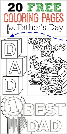 Here are some fun and FREE Father's Day Coloring Pages that the kids can color for Dad or Grandpa!