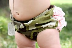 Baby Camo Mini Ruffle Panty Diaper Cover by BloominBloomers, $25.00