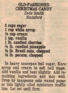 Newspaper recipe: Old-Fashioned Christmas Candy