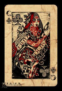 queen of hearts tattoo | Queen of Clubs II by Ljama on deviantART