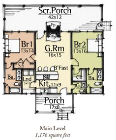 Ridiculous Tips and Tricks: Interior Painting Techniques House interior painting ideas behr. Guest House Plans, 2 Bedroom House Plans, Small House Floor Plans, Cottage Floor Plans, Cottage House Plans, Dream House Plans, Cabin Plans, Cottage Homes, Tiny House 2 Bedroom