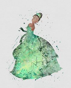 Princess Tiana 2 Watercolor Art