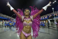 A member of a samba school performs during Carnival celebrations at the Sambadrome in Sao Paulo, Brazil, on 02/28/14.