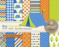 50% OFF Boy Camping Digital Paper and Clipart, Camp, Glamping, Tent, Bonfire, Lantern, for Birthday, Digital Scrapbooking
