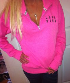 Victoria's Secret Half zip CREW Sweatshirt Jacket NeonPINK Love pink LOGO Big XS #VictoriasSecret #SweatshirtCrew