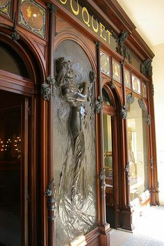 Fouquet storefront, Musée de Carnavalet. The Fouquet jewelry store is an Art Nouveau treasure. It has been installed in the Musée Carnavalet in Paris. This relief is part of the front of the store