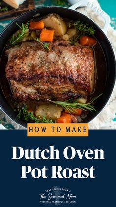 Boneless Pork Loin Roast, Beef Pot Roast, Roast Beef Recipes, Slow Cooker Recipes, Cooking Recipes, Beef Meals, Chicken Meals, Dutch Oven Pot Roast, Dutch Oven Cooking