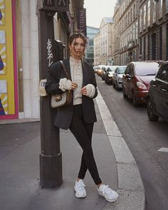 My look when I - Negin Mirsalehi ( ) Outfits Mujer, Edgy Outfits, Fashion Outfits, Street Style Looks, Looks Style, Madrid Street Style, Work Casual, Casual Chic, Fall Winter Outfits