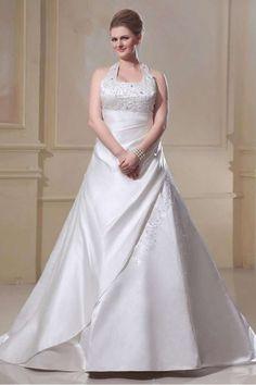 LAURA - A-line Halter Chapel train Satin Square neck Wedding dress