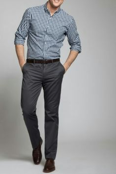 gray gingham dress shirt. gray slacks. black belt/shoes. awesome. casual Friday. style.